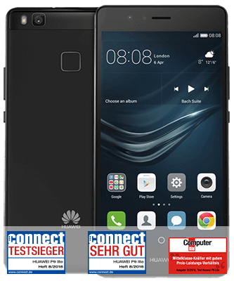 P9 lite black Front-Backansicht