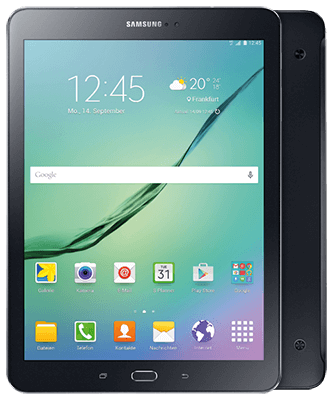 Galaxy Tab S2 9.7 LTE black Front-Backansicht