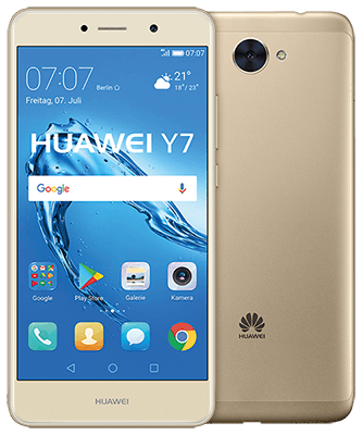 Huawei Y7 gold Front-Backansicht
