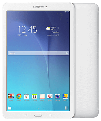 Galaxy Tab E 9.6 3G white Front-Backansicht