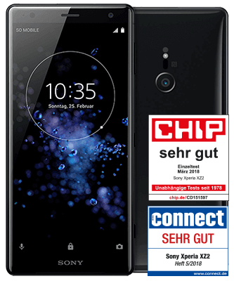 Sony Xperia XZ2 Liquid Black Front-Backansicht