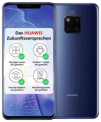 Huawei Mate 20 Pro Dual SIM Midnight Blue Front-Backansicht