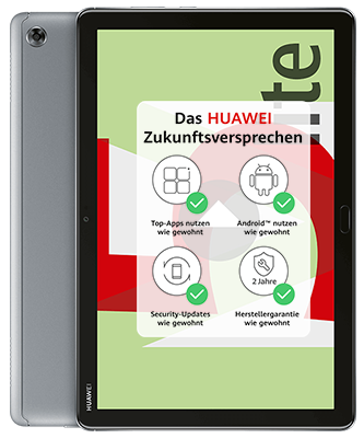 Huawei MediaPad M5 lite LTE space grey Front-Backansicht